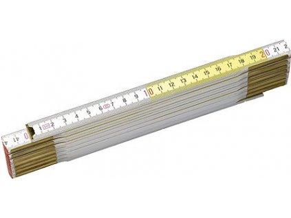 Dřevěný skládací metr žluto-bílý 2m