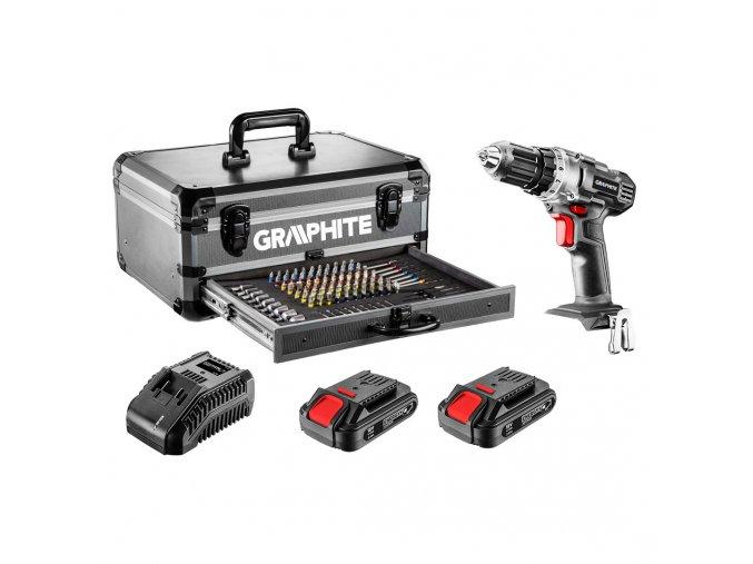 Súprava Energy+ vhliníkovom kufríku: vŕtací skrutkovač 2 x 18 V/2,0 Ah 58G000-PS14, 10 mm + 109 ks prístušenstva