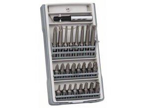 25-dielna súprava skrutkovacich bitov PH1, PH2 (2 x 25 mm), PH3, PZ1, PZ2 (2 x 25 mm), PZ3, T10, T15, T20 (2 x 25 mm), T25, T27, T30, T40, T10, T15, T20, T25, T30, T40, PH2 (1 x 49 mm), PZ2 (1 x 49 mm), Bitholder
