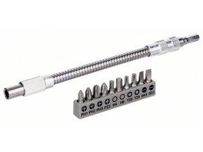 11-dielna súprava skovovým flexibilným nadstavcom SDB Kovový flexibilný nadstavec, 200mm, súprava skrutkovacích hrotov, PH1, PH2, PH3, PZ2, Hex4, Hex5, T20, T25, SL 0,6 × 4,5; SL 0,8 × 5,5