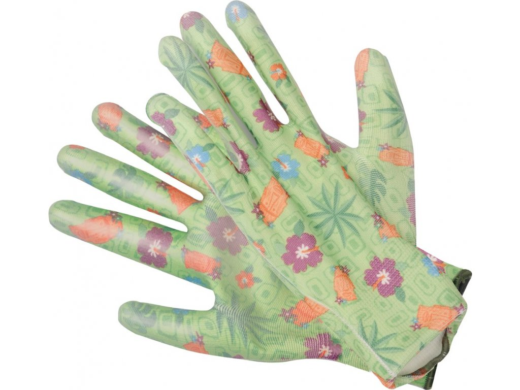 Rukavice zahradní zelené s květinami vel. 9
