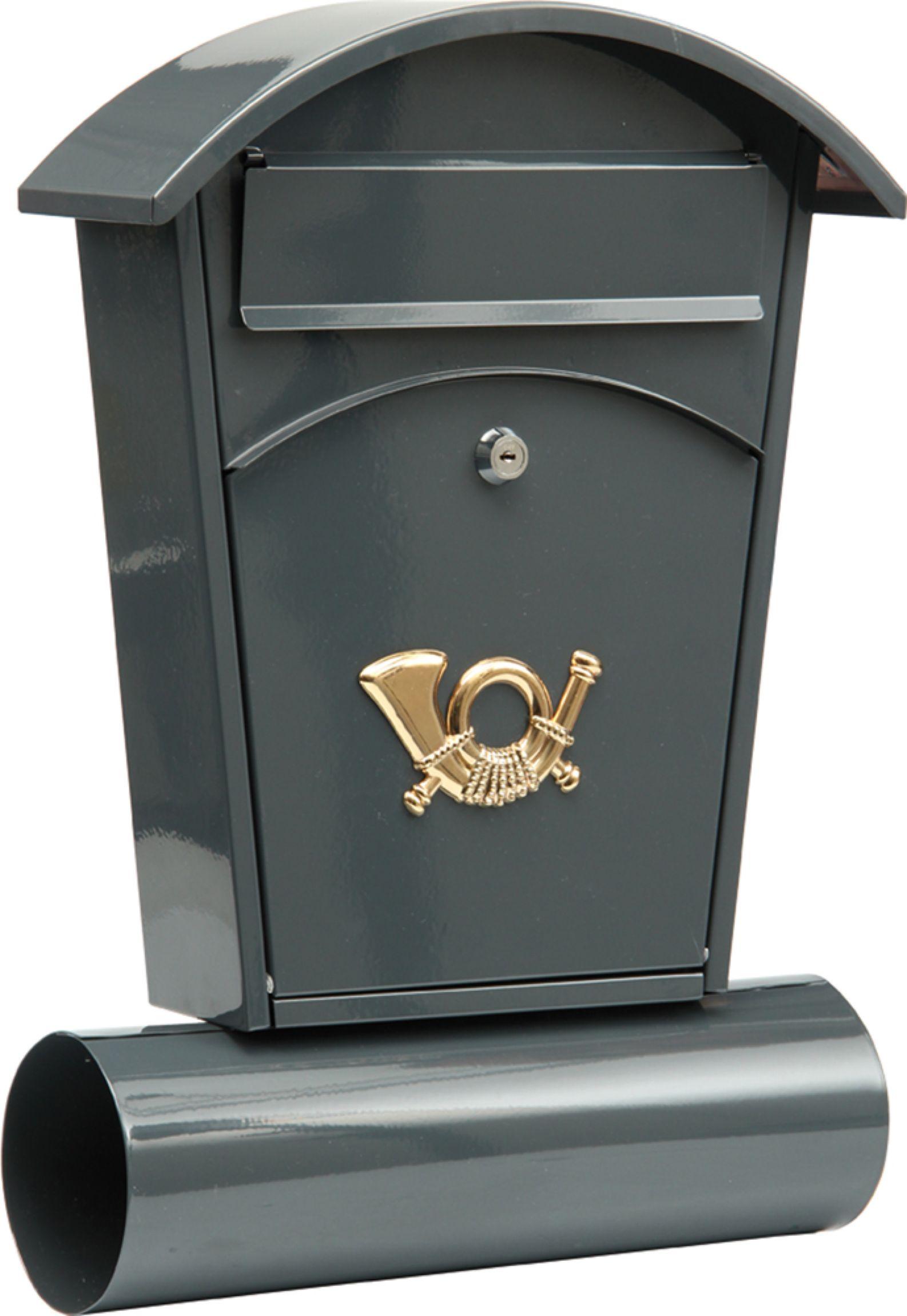 Poštovní schránka se stříškou oblou + zásobník na noviny 480x280x80mm šedá