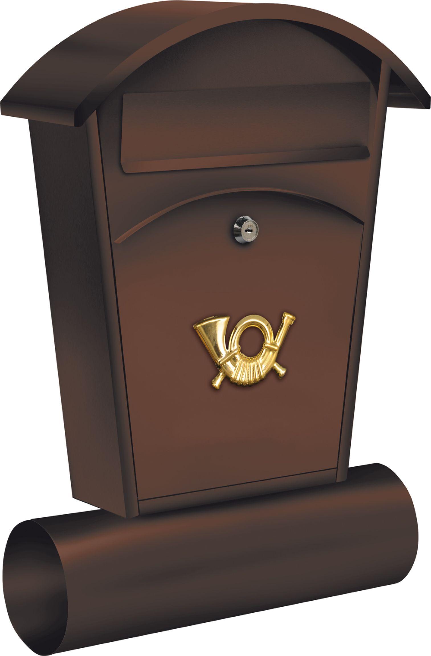 Poštovní schránka se stříškou oblou + zásobník na noviny 480x280x80mm hnědá