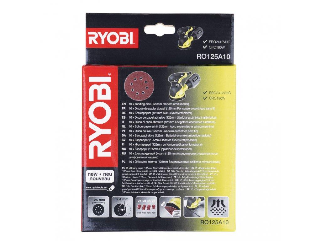 Ryobi RO 125 A10 - 10 ks sada brusných papírů