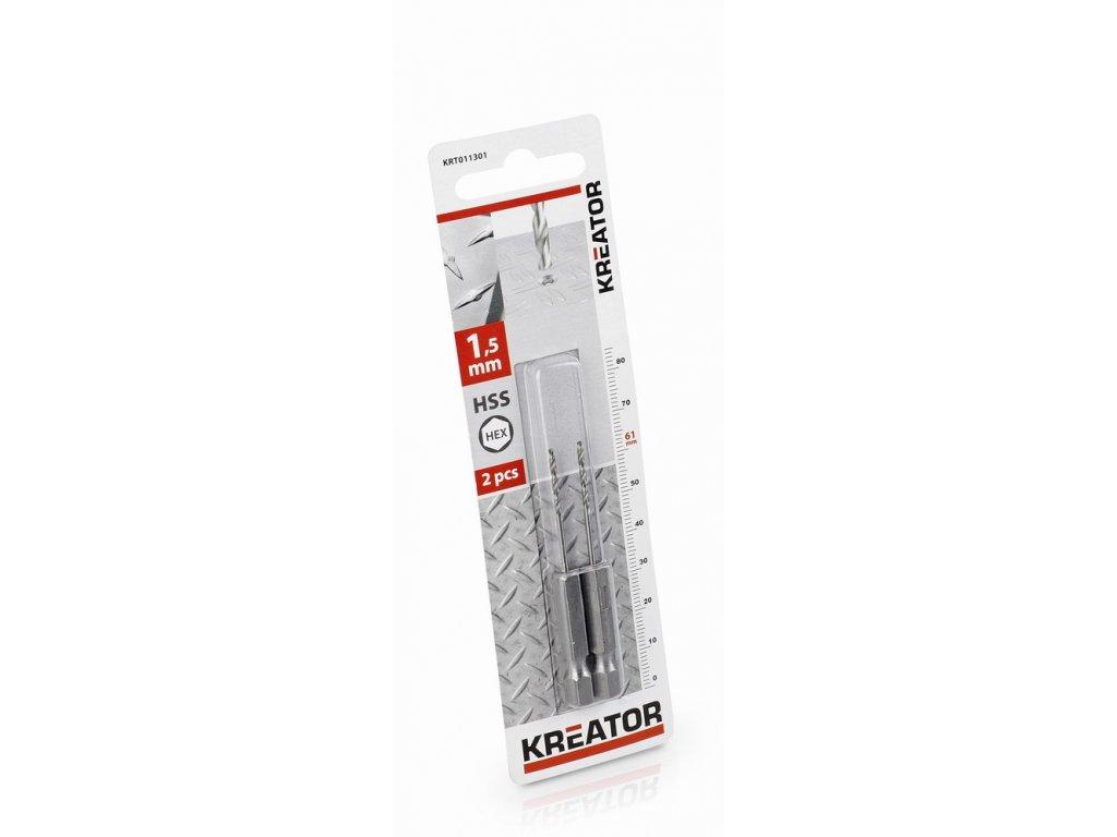 KRT011301 - 2 ks HSS Vrtáků do kovu HEX 1.5 x 61 mm