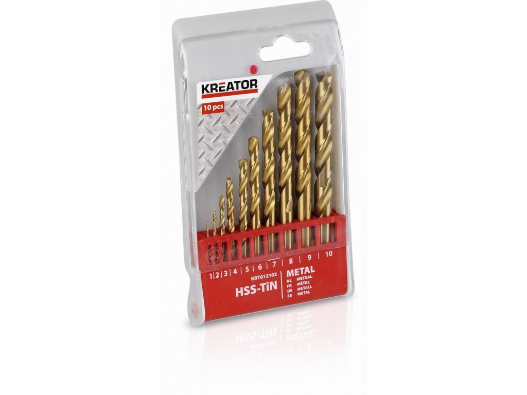 KRT012102 - 10 ks HSS Vrtáků do kovu TIN SET 1-10 mm