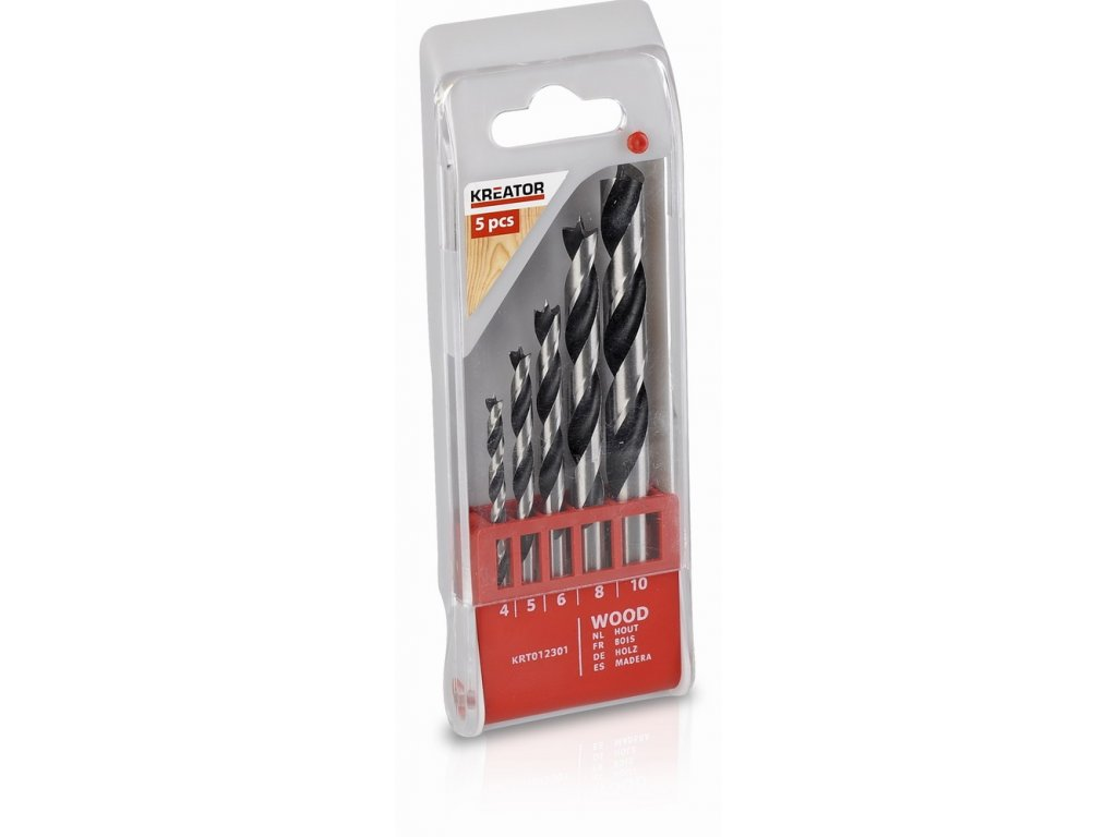 KRT012301 - 5 ks Vrtáků do dřeva 4-5-6-8-10 mm