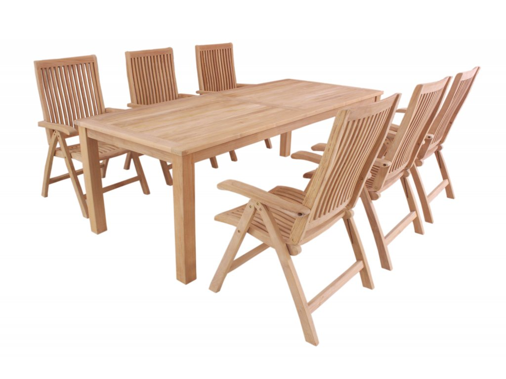 Garland Flores 6+ - sestava nábytku z teaku (6x poloh. křeslo Aston, 1x stůl Oceana)