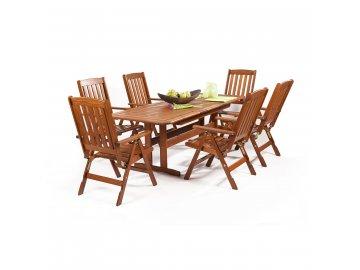 Garland Sven 6+ - sestava nábytku z borovice (6x pol. křeslo Oliver, 1x rozkládací stůl Skeppsvik)