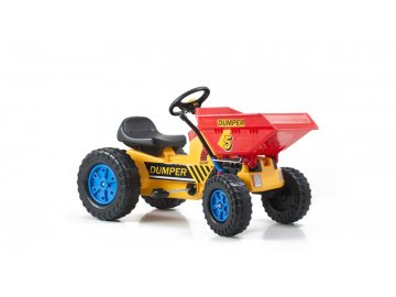 Šlapací traktor G21 Classic s čelním nosičem žluto/modrý
