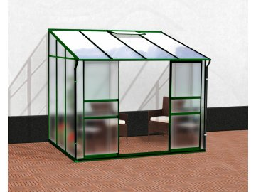 skleník VITAVIA IDA 5200 matné sklo 4 mm + PC 6 mm zelený