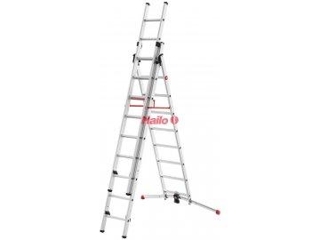Hailo ProfiLOT 3-dílný hliníkový žebřík 2x9 + 1x8 příček