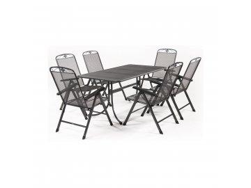MWH Basanis 6+ - sestava nábytku z tahokovu (6x pol. křeslo Savoy, 1x stůl Universal 160)