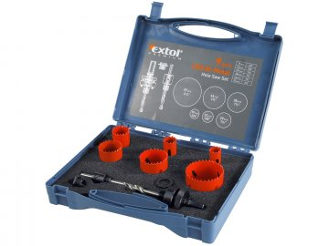 vrtáky korunkové, instalatérské, 6 průměrů, ∅19-57mm, HSS/Bi-metal