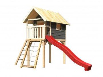 dětský domek KARIBU GERNEGROSS 91200 tm. šedý + červená skluzavka + síť