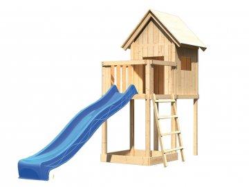 dětský domek KARIBU FRIEDA 91176 + modrá skluzavka