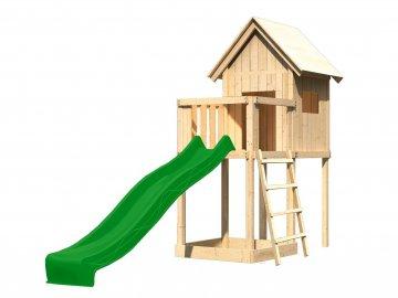 dětský domek KARIBU FRIEDA 91178 + zelená skluzavka