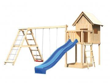 dětský domek KARIBU FRIEDA 91184 + modrá skluzavka + houpačka + žebřík