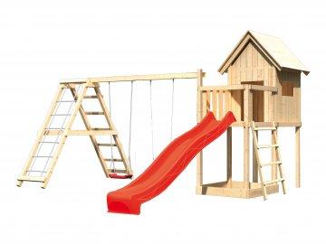 dětský domek KARIBU FRIEDA 91185 + červená skluzavka + houpačka + žebřík