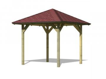 zahradní altán KARIBU LILLEHAMMER 1 68817 vč. červeného střešního šindele