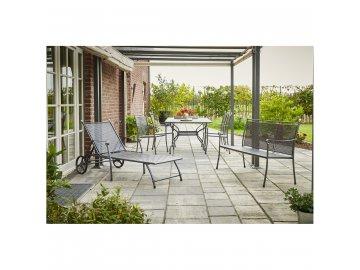 Royal Garden Excelsior Set - sestava nábytku (1x stůl Royal Verso + 4x stoh. židle Excelsior + 1x lehátko Excelsior)