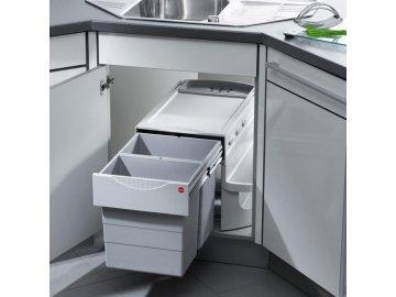 Hailo AS Rondo Comfort 20/20/KS/ME světle šedý - rohový, vestavný třídič odpadu