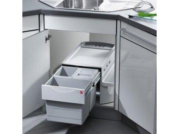 Hailo AS Rondo Comfort 20/10/10/D/KS/ME - světle šedý - rohový, vestavný třídič odpadu