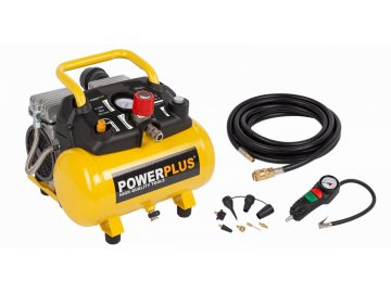 POWX1724S - Kompresor SILENT 750W 6L  plus 10ks přísl. Bezolejový