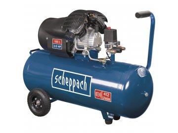 Scheppach HC 120 dc - olejový dvouválcový kompresor 10 bar se vzdušníkem 100 l