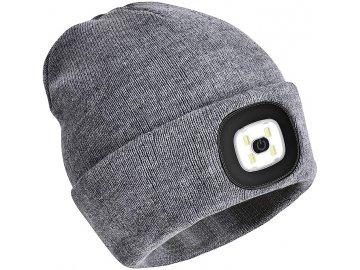 Čepice s LED světlem-šedá