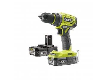 Ryobi R18DD7-220S - aku bezuhlíkový 18 V šroubovák/vrtačka + 2x 2Ah baterie + nabíječka ONE+