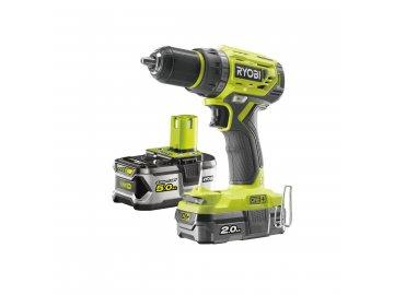 Ryobi R18DD7-252S - aku bezuhlíkový 18 V šroubovák/vrtačka + 1x 2Ah + 1x 5Ah baterie + nabíječka ONE+