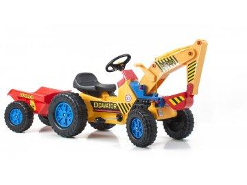 Hračka G21 Šlapací traktor Classic s bagrem a vlečkou žluto/modrý