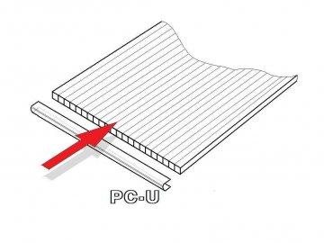 PC U-profil 10 mm pro obloukový skleník délka 2,10 m (1 ks)