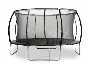 Trampolína G21 SpaceJump 430 cm, černá, s ochrannou sítí + schůdky zdarma