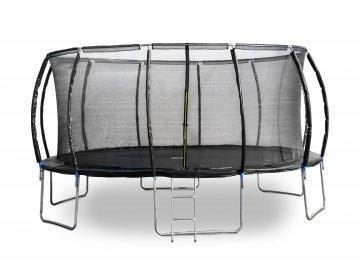 Trampolína G21 SpaceJump 490 cm, černá, s ochrannou sítí + schůdky zdarma