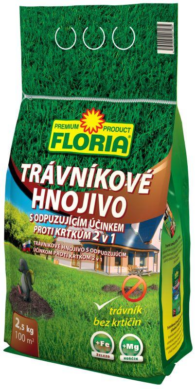 FLORIA Trávníkové hnojivo s odpuzujícími účinky na krtky 2,5 kg