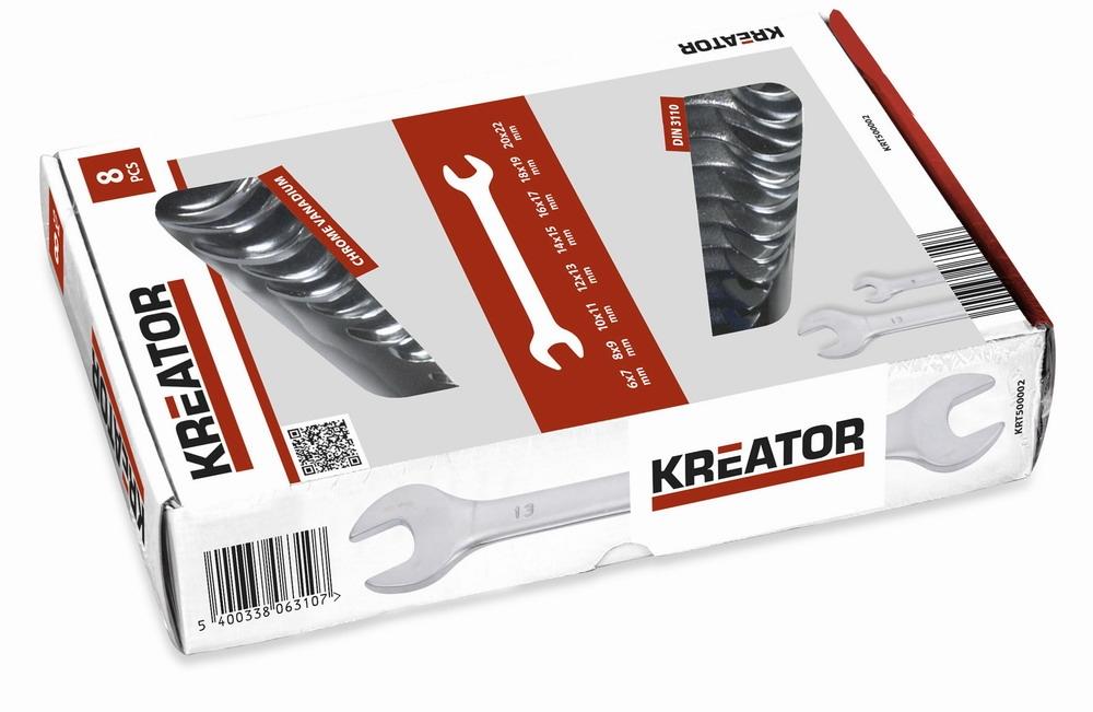 KREATOR KRT500002 - Sada oboustranných otevřených klíčů 6-22mm - 8ks
