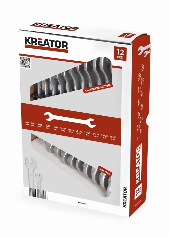 KREATOR KRT500003 - Sada oboustranných otevřených klíčů 6-32mm - 12ks