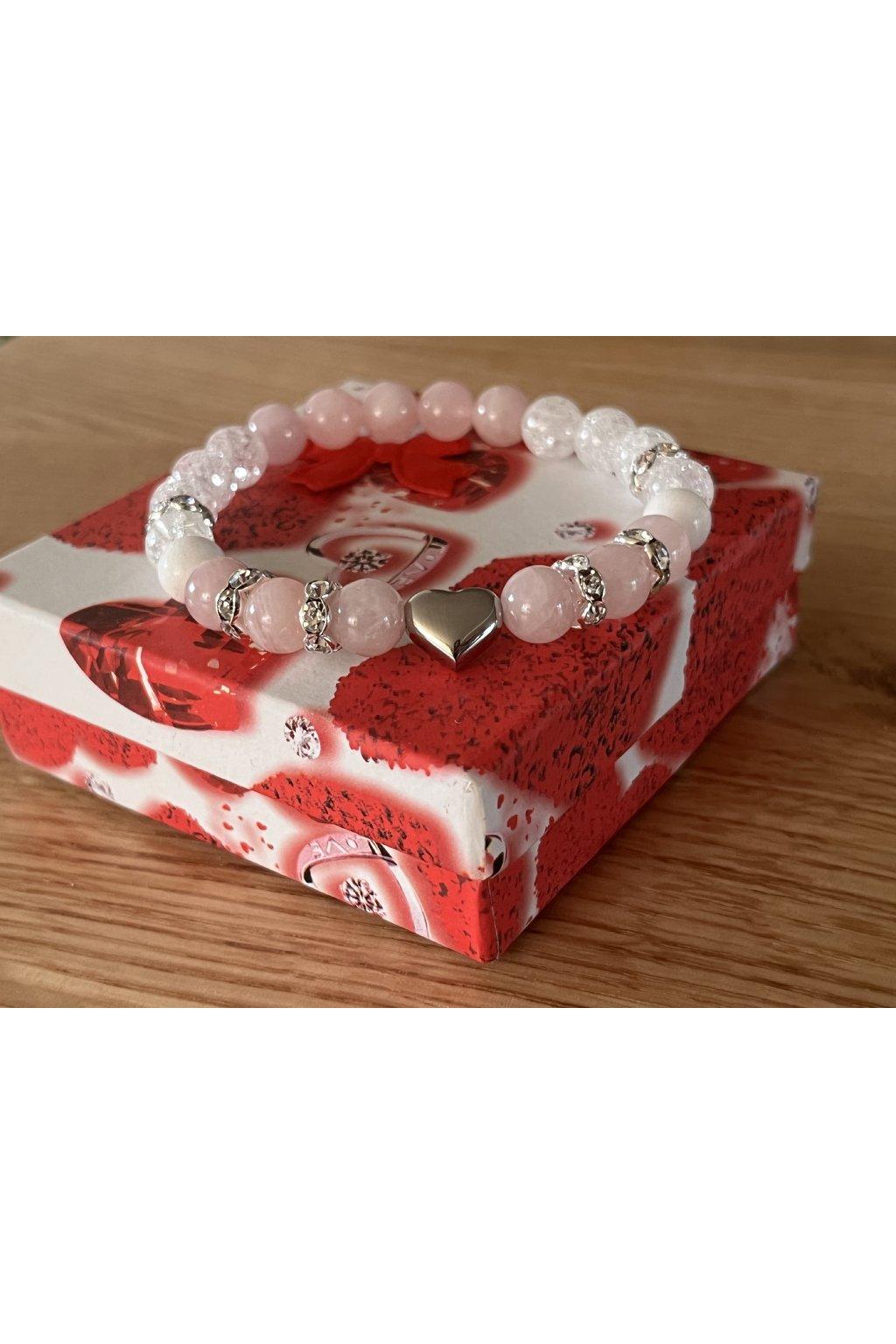 Dámský náramek z minerálů - Přírodní Nefrit, Růženín, Praskaný křišťál, Shambalový korálek