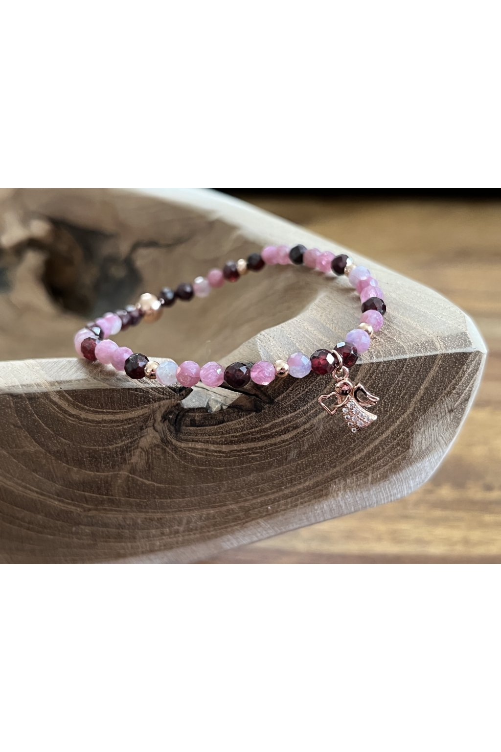 Dámský náramek z minerálů - Tygří Jaspis, Růženín, Hematit, Strom života