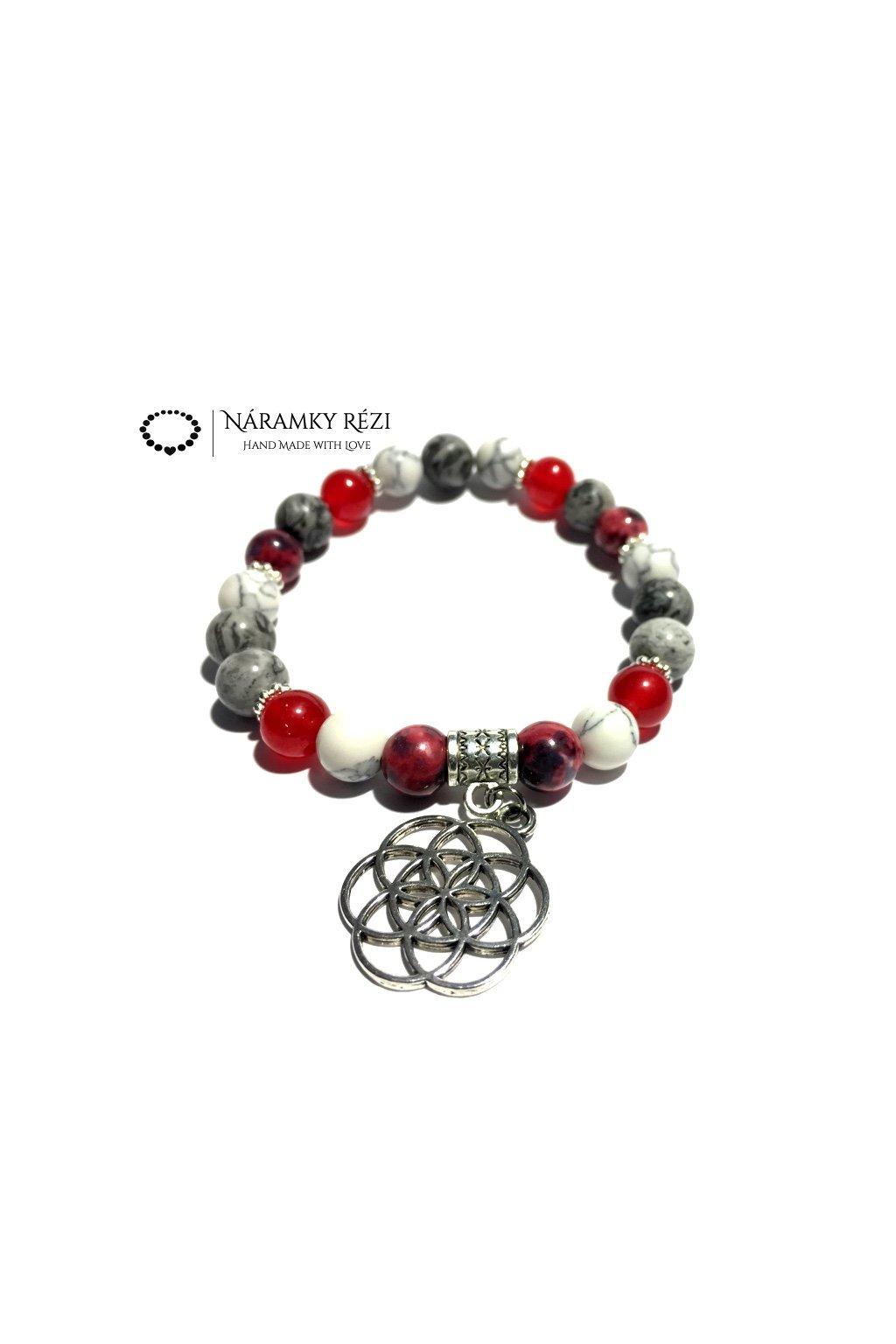 Dámský náramek z minerálů - Krajinový Jaspis, Howlit, Malajský a Oceánový Nefrit, Květ života