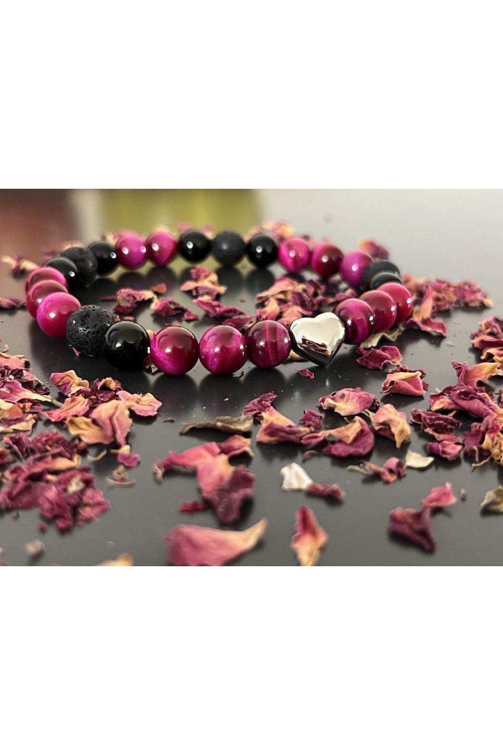 Dámský náramek z minerálů - Černá láva, Hematit, Oceánový Nefrit, Jin Jang