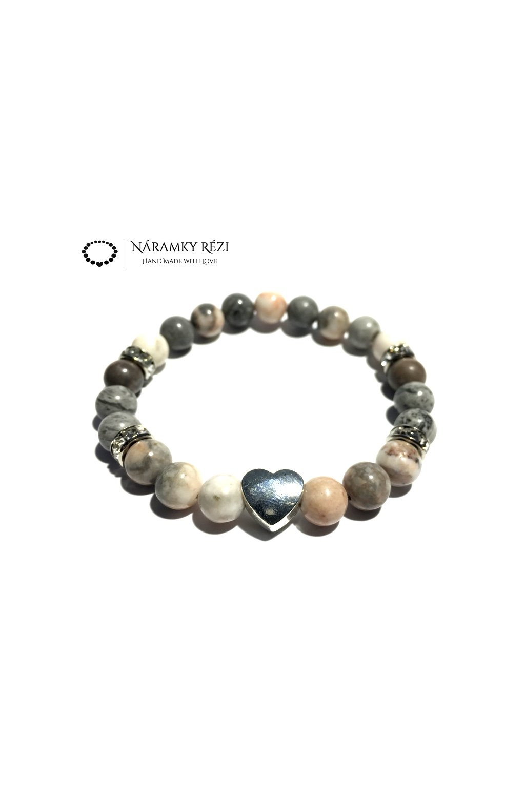 Dámský náramek z minerálů - Krajinový, Růžovo zebrovaný Jaspis, Srdce
