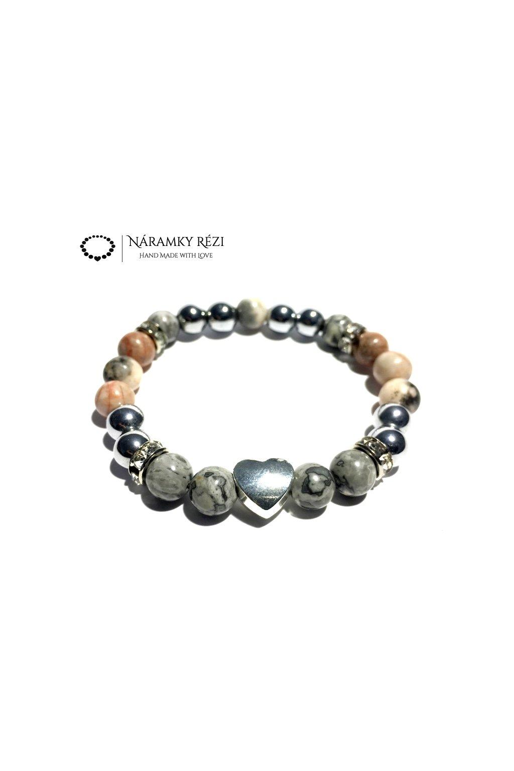 Dámský náramek z minerálů - Krajinový, Růžovo zebrovaný Jaspis, Hematit, Srdce