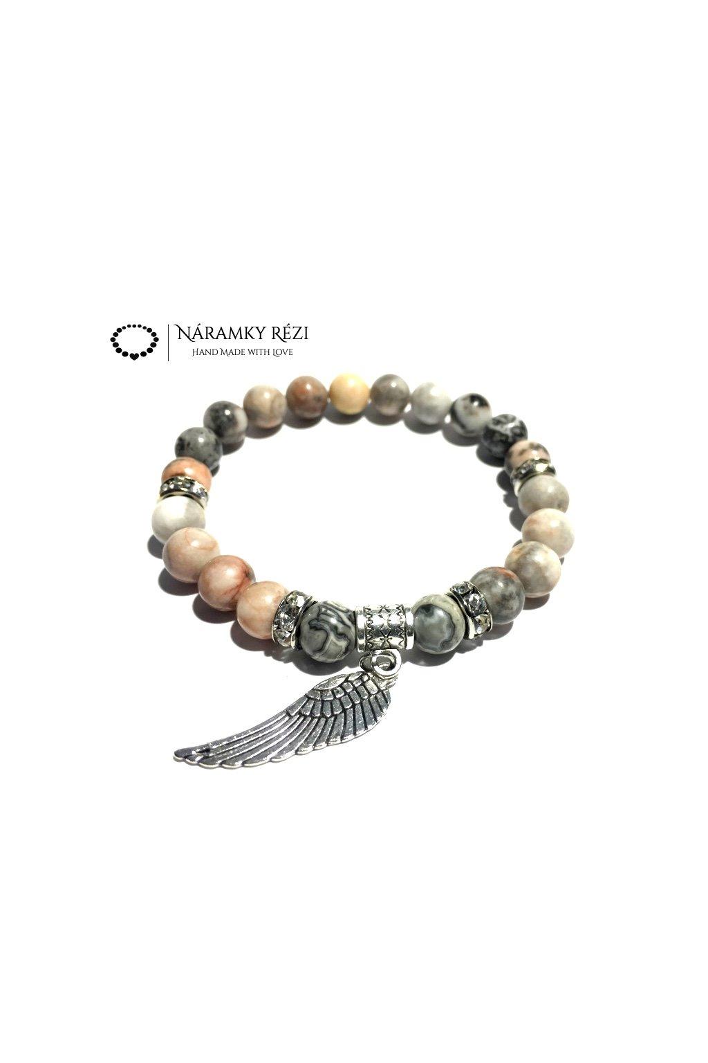 Dámský náramek z minerálů - Krajinový, Růžovo zebrovaný Jaspis, Andělské křídlo