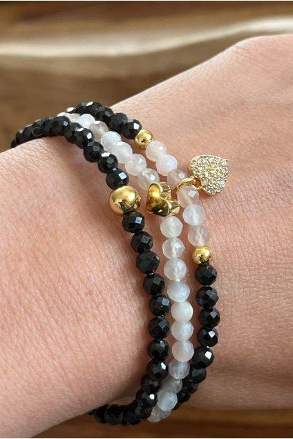 Dámský náramek z minerálů - Malajský Nefrit, Přírodní Nefrit, Praskaný křišťál, Strom života