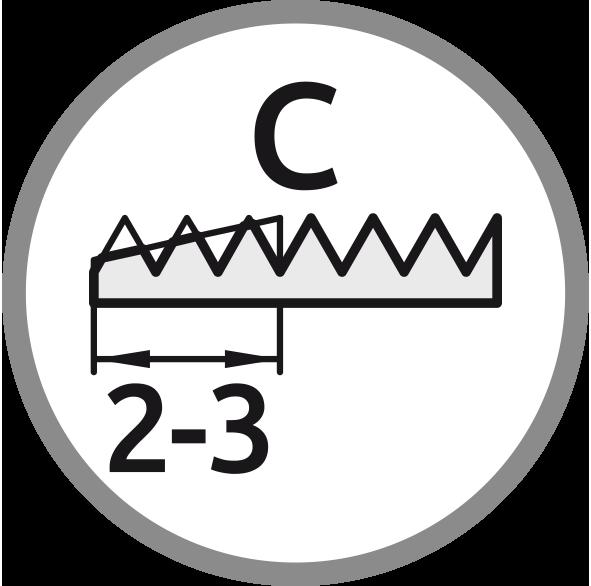 Řezný kužel C: Délka 2-3 stoupání