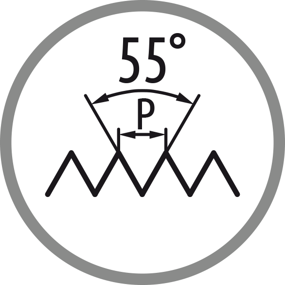 Schema profilu závitu: 55°