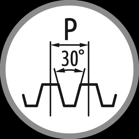 Schema profilu závitu: 30°